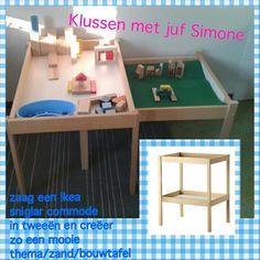 Ikea commode omgetoverd tot speeltafel.