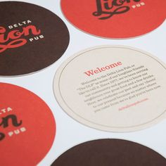 Logo and beer mats designed by St Bernadine for local drinking and dining spot Delta Lion Pub Self Promotion Design, Pub Design, Print Design, Clever Logo, Beer Mats, Warm Colour Palette, Beer Coasters, Print Packaging, Packaging Design
