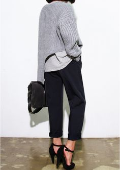 CHILL | TheyAllHateUs : Grey sweater, black pants, ankle strap heels