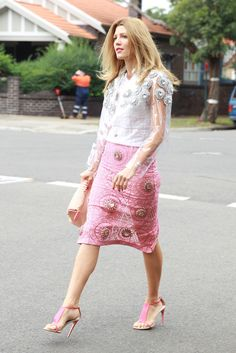 Over 50 Must-See Street Snaps From Sydney Fashion Week --The prettiest skirt and top set deserves equally pretty pink heels.