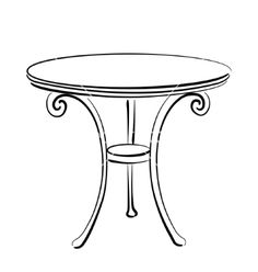 Sketched table Table sketch vector image on VectorStock Interior Design Sketches, Industrial Design Sketch, Drawing Furniture, Furniture Sketches, Table Sketch, Anime Drawing Books, House Colouring Pages, Christmas Drawing, Chalk Art