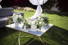 Arrangements Floral + Party Design — Rancho Mirage, Lauren + Chris | Outdoor wedding lounge set, marble coffee table, white and green floral arrangements