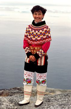 Laila Tobiassen in traditional beaded West Greenlandic costume. Ilulissat, Greenland/ Learn more about Greenland's culture and tradition with us; The Culture Trip