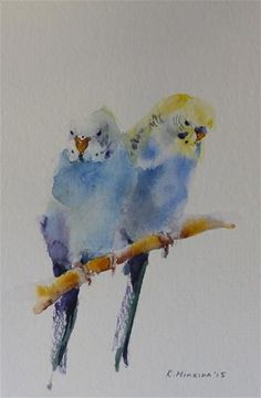 "Daily Paintworks - ""budgie12"" - Original Fine Art for Sale - © Katya Minkina"