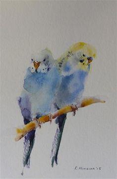 "Daily Paintworks - ""budgie12"" - Original Fine Art for Sale - © Katya Minkina"