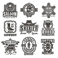 Set of vector wild west logos PNG and Vector