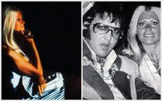 Diana Goodman (Miss Georgia) - watching Elvis on stage, and she is holding his sunglasses.  Right photo: Elvis wiith Diana Goodman in the back of his limo July 19, 1975