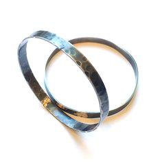18K Gold Hammered Stacking Bracelets