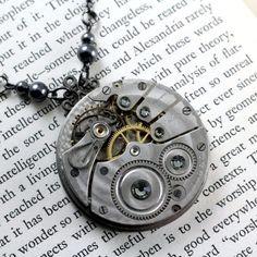 WATCHING THE DARK NECPOWA103  $24.00  Antique pocket watch necklace with gunmetal-tone and Swarovski crystal elements.