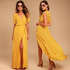 Charmistic Golden Yellow Wrap Maxi Dress