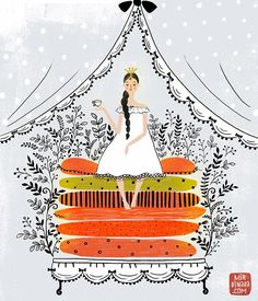 {illustration by Dinara Mirtalipova} Stoff Design, Princess And The Pea, Hans Christian, Children's Book Illustration, Princess Illustration, Beatrix Potter, Pics Art, Illustrations Posters, Folk Art