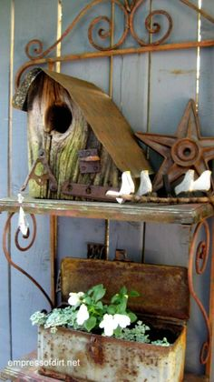 Birdhouses - a gallery of styles including stone, wood, rustic, junk
