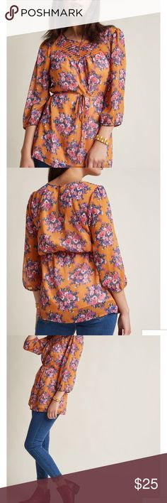 Brand New! ModCloth tunic 2X NWT Gorgeous floral tunic. Brand new with tags. Tops Blouses