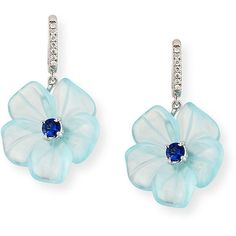 Rina Limor Floral Aquamarine & Sapphire Earrings with Diamonds (128,545 PHP) ❤ liked on Polyvore featuring jewelry, earrings, diamond earring jewelry, sapphire earrings, diamond jewellery, aquamarine diamond earrings and 18k diamond earrings