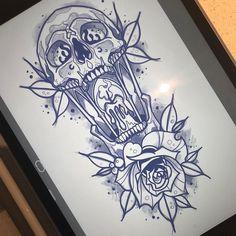 Skull Tattoo Design, Tattoo Design Drawings, Skull Tattoos, Tattoo Sketches, Leg Tattoos, Body Art Tattoos, Sleeve Tattoos, Tattoo Designs, Tattos