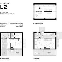Saaristolaistalo L2 on rinteeseen soveltuva rakennus, moderni puutalo. Katso tämä ja muut mallistomme talot sivuiltamme.