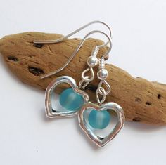 Turquoise Sea Glass Earrings, Sea Glass Jewelry, Beach Glass Earrings, Beach Glass Jewelry, Silver Heart earrings. FREE SHIPPING within U.S. by ByDeeZyne on Etsy https://www.etsy.com/listing/159871121/turquoise-sea-glass-earrings-sea-glass