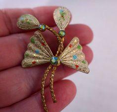 Vintage Western Germany Enamel Brooch Aurora Borealis Signed Gold  Flower #WesternGermany