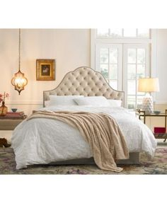 Jacqueline Beds, Direct Ship $1,089.00 Add a regal feel to your bedroom with the Jacqueline headboard collection. The curvaceous silhouette is lined with intricate nail button trim that blends magnificently with the diamond-tufted velvet upholstery.