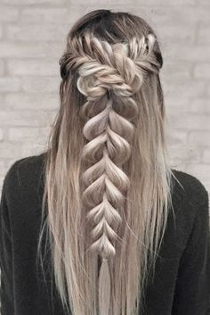 42 Boho Inspired Unique And Creative Wedding Hairstyles, Peinados, Boho Inspired Creative And Unique Wedding Hairstyles ❤ See more: www. Unique Wedding Hairstyles, Creative Hairstyles, Romantic Hairstyles, Cool Braids, Braids On Long Hair, Gorgeous Hair, Beautiful Braids, Braided Hairstyles, Prom Hairstyles