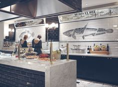 Seafood Market Design Sushi 69 Ideas For 2019 Seafood Shop, Seafood Market, Seafood Restaurant, Cafe Restaurant, Retail Interior, Restaurant Interior Design, Cafe Bar, Fish And Chip Shop, Food Retail
