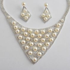 Unique White Pearl Silver Bridal Wedding Necklace Earrings Jewelry Set SKU-10801514