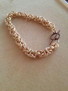 Copper Byzantine Chainmaille Bracelet by JennRSGems on Etsy, $20.00
