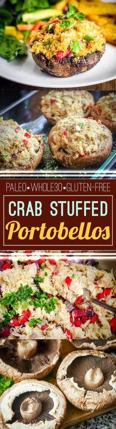 These easy Crab Stuffed Portobellos make the perfect weeknight meal! Paleo, Whole30, and Gluten-free.