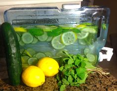 Clear Skin/Digestion Aid Water 2-3 large lemons, thinly sliced 1 Cucumber, thinly sliced 18-20 mint leaves (1 bunch) 1/2 – 1 tbsp ginger, ground 1 gallon of water