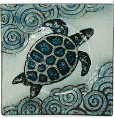 "$9.99 Nautical Coastal Sea Turtle 5.5"" Square Plate Hand Painted Tray Platter Decor #nauticalroom #nauticaldecor"
