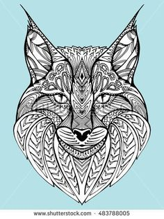 Abstract portrait of a wild cat. Lynx. Predatory cat. Line art. Drawing by hand. Tattoo. Doodle. Zentangle. Graphic arts. Stylized cat. ?at's head.