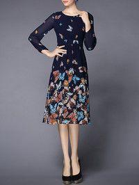Butterfly Printed Chiffon Midi Dress $79.99