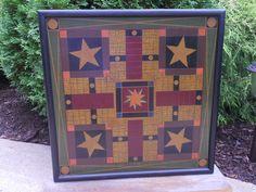 primitive game boards | Primitive Parcheesi Game Board Folk Art by JohnnyUNamath on Etsy