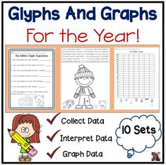 Glyphs and Graphs for the entire year!  10 Sets of glyphs, questions, and graphs-one set for each month-to teach your students how to collect, interpret, and graph data. Integrates reading and writing with common core math skills for kindergarten and first grade.  #math  #lessonplans  #glyphs