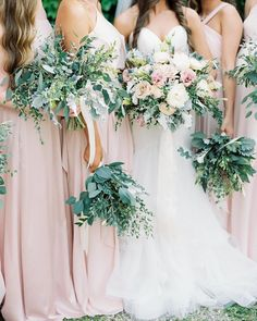 Pink bridesmaids greenery bouquets arkansas wedding flowers floral design vase and vine