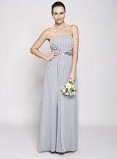Silver Daisy Long Bridesmaid Dress