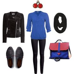"""""""Blue and polka red / Deep Winter Inspiration"""" by lapetiteamelie on Polyvore"""
