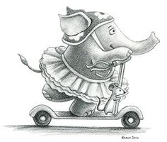 Elephant on a scooter in a tutu.