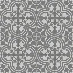 Encaustic Cement Tile Bayahibe in caribbean white & ash grey | Cement Tile Shop
