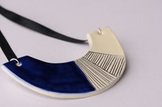 FREE UK Postage Geometric ceramic necklace geometric by islaclay