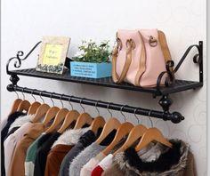 Wall-Mounted-Clothes-Shelf-Rail-Rack-Bath-Wardrobe-Fashion-Shop-Display-002BLK