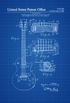 Electric Guitar Patent - Patent Print Wall Decor Music Poster Music Art Musical Instrument Patent Guitar Patent Music Patent by PatentsAsPrints