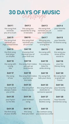 30 Days of Music, 30 Day Instagram Challenge, 30 Day Music Challenge, 30 Days Photo Challenge, Writing Challenge, Thigh Challenge, Plank Challenge, High School Musical, Musical Hamilton, 30 Day Challange