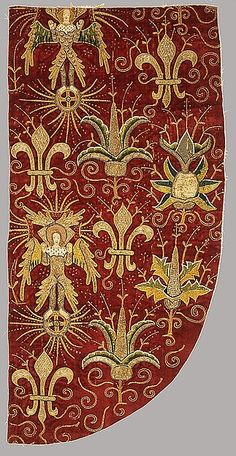 Opus Anglicanum (Chasuble) Opus Anglicanum (Chasuble) Date: late 15th century Culture: British Medium: Silk and metallic threads on linen; appliqué on silk velvet foundation with silk embroidery and silver-gilt shot Dimensions: 28 3/4 x 14 3/16 in. (73 x 36 cm) Classification: Textiles-Embroidered  MET Museum