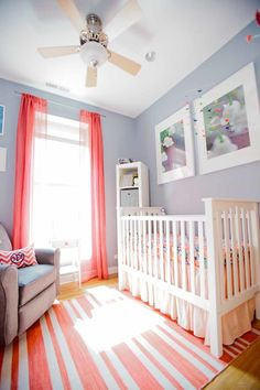 Bright & Beautiful Nursery, gray nursery with peach accents, pantone blooming dahlia, coral peach, salmon pink Kid Spaces, Small Spaces, Peach Nursery, Nursery Gray, Pantone, Nursery Stories, Style Me Pretty Living, Grey And Coral, Cozy Room