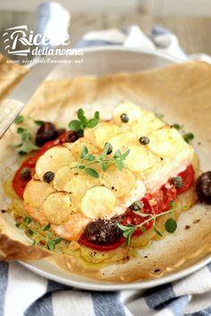 Salmone al forno light con patate ricetta e foto