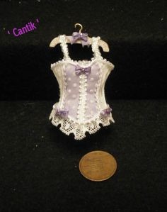 1:12 Scale Miniature dolls house Handmade accessary  CORSET ON HANGER