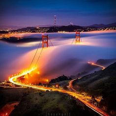 Golden Gate Bridge meets Karl the fog ☁️ What a wonderful view ✨ Pic by @heyengel  . . #naturalplease#tourism#wanderlust#travel#traveling#instatraveling#turismo#viagem#travelgram#vacation#photooftheday#picoftheday#life#cool#awesome#amazing#destination#lifestyle#view#sanfrancisco#califa#california#goldengate#goldengatebridge#goldengatepark#usa#fog#landscape#night#city