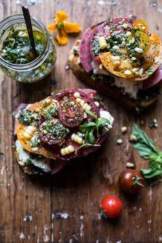 Tomato, Salami and Chunky Arugula-Basil Pesto Bruschetta