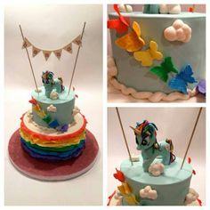 Rainbow butterfly unicorn cake